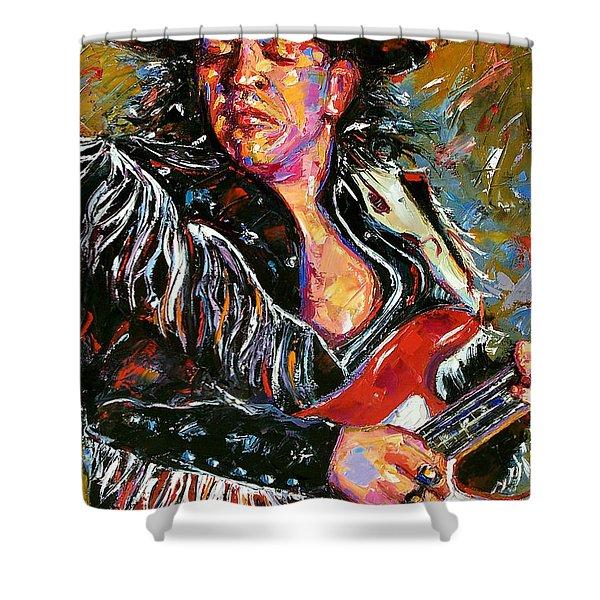 Stevie Ray Red Guitar Shower Curtain by Debra Hurd