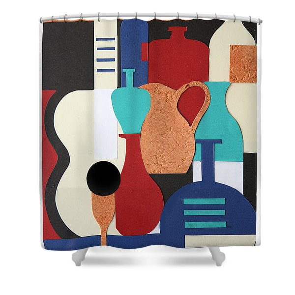 Still life paper collage of wine glasses bottles and musical instruments Shower Curtain by Mal Bray