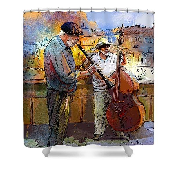 Street Musicians in Prague in the Czech Republic 01 Shower Curtain by Miki De Goodaboom