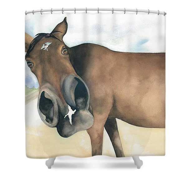 Stretch...your Perspective Shower Curtain by Kimberly Lavelle