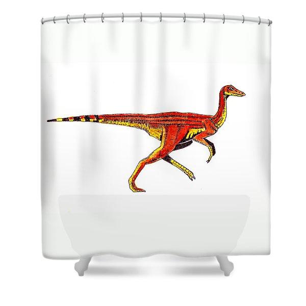 Struthiomimus Shower Curtain by Michael Vigliotti