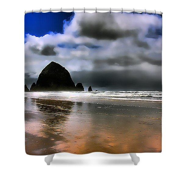 Sun Shining on Haystack Rock Shower Curtain by David Patterson