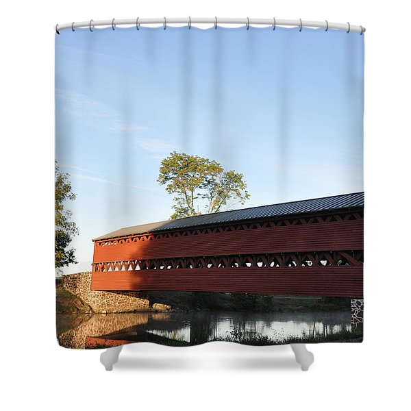 Sun Up at Sachs Covered Bridge Shower Curtain by Bill Cannon