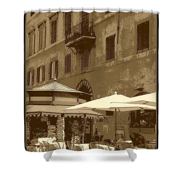 Sunny Italian Cafe - Sepia Shower Curtain by Carol Groenen