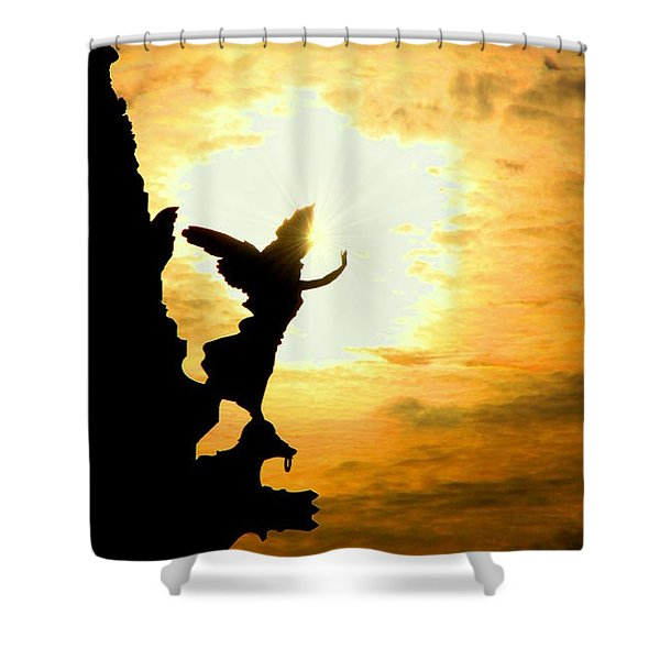 Sunset Angel Shower Curtain by Valentino Visentini