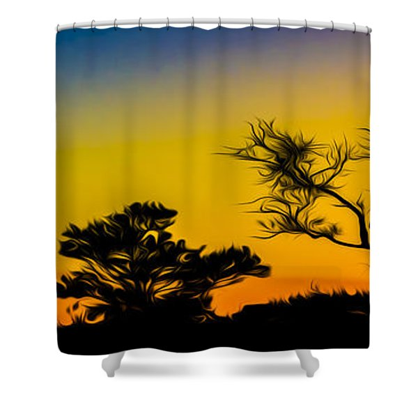 Sunset Fantasy Shower Curtain by Debra and Dave Vanderlaan