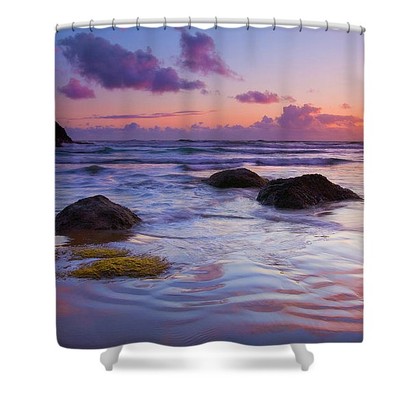 Sunset Ripples Shower Curtain by Mike  Dawson