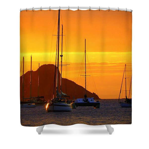 Sunset Sails Shower Curtain by KAREN WILES