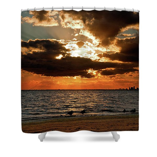 Tampa Bay Sunset Shower Curtain by Christopher Holmes