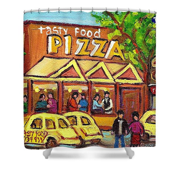 TASTY FOOD PIZZA ON DECARIE BLVD Shower Curtain by CAROLE SPANDAU