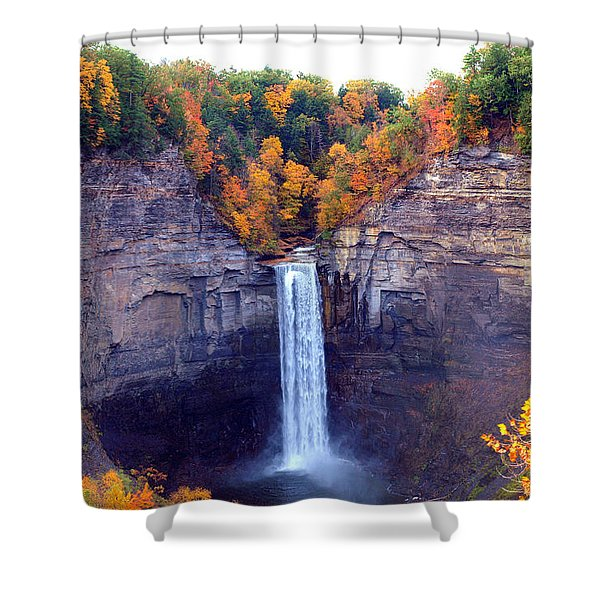Taughannock Waterfalls In Autumn Shower Curtain by Paul Ge