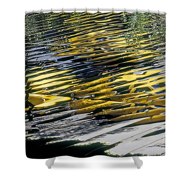 Taxi Abstract Shower Curtain by Tony Cordoza