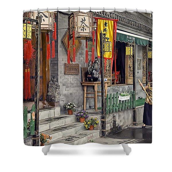 Tea House Shower Curtain by Scott Norris