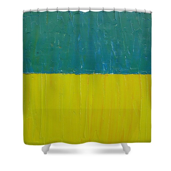 Teal Olive Shower Curtain by Michelle Calkins