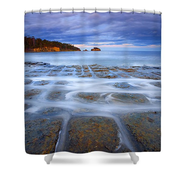 Tesselated Sunset Shower Curtain by Mike  Dawson
