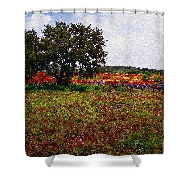 Texas Wildflowers Shower Curtain by Tamyra Ayles