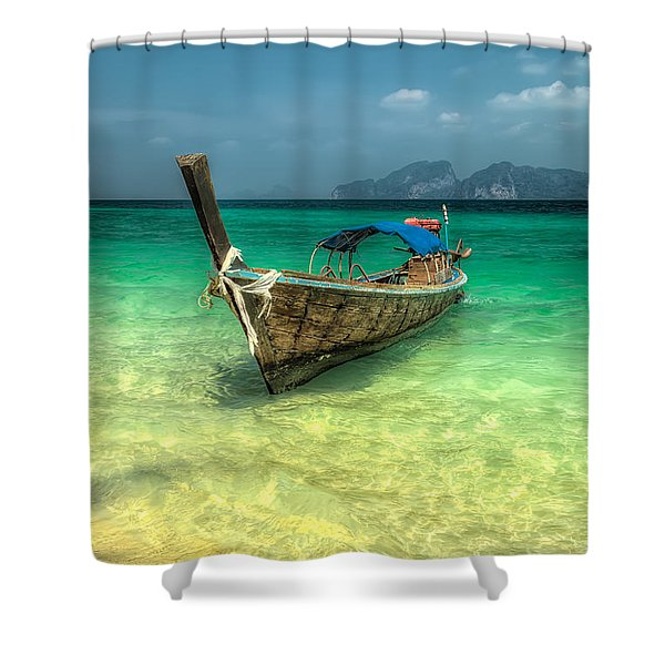 Thai Longboat Shower Curtain by Adrian Evans