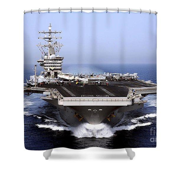 The Aircraft Carrier Uss Dwight D Shower Curtain by Stocktrek Images
