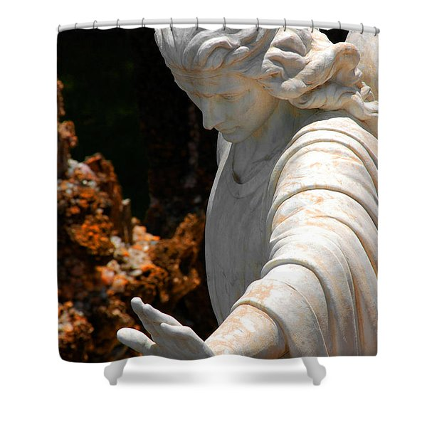 The Angels Warning Shower Curtain by Susanne Van Hulst