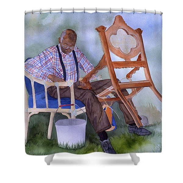 The Art Of Caning Shower Curtain by Jean Blackmer