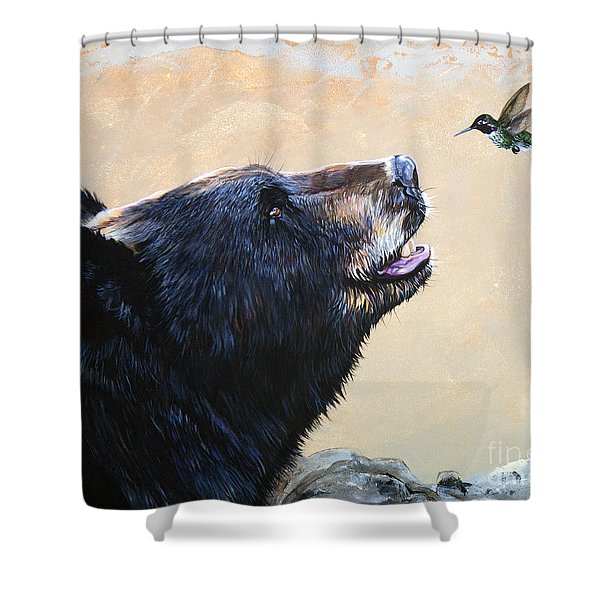 The Bear And The Hummingbird Shower Curtain by J W Baker