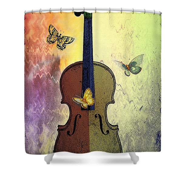 The Butterflies And The Violin Shower Curtain by Bill Cannon