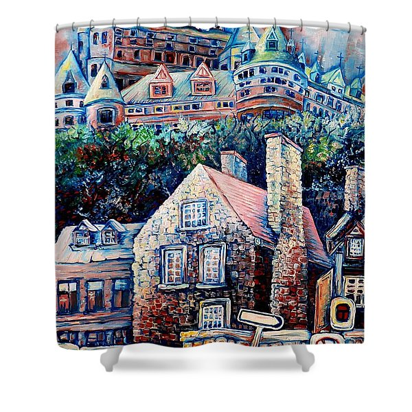 THE CHATEAU FRONTENAC Shower Curtain by CAROLE SPANDAU