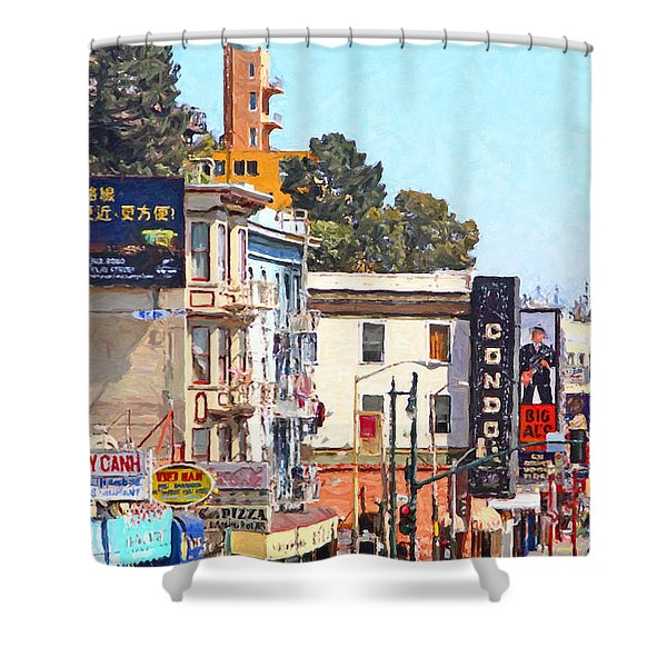The Condor On Broadway And Columbus Street In San Francisco Shower Curtain by Wingsdomain Art and Photography