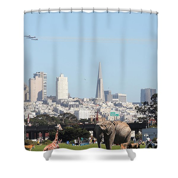 The Day The Circus Came To Town - Portrait Shower Curtain by Wingsdomain Art and Photography