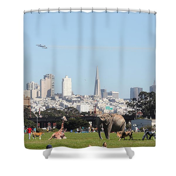The Day the Circus Came to Town Shower Curtain by Wingsdomain Art and Photography