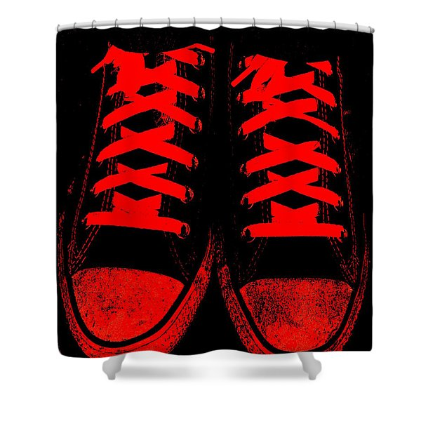 The Devil Wears Converse Shower Curtain by Ed Smith
