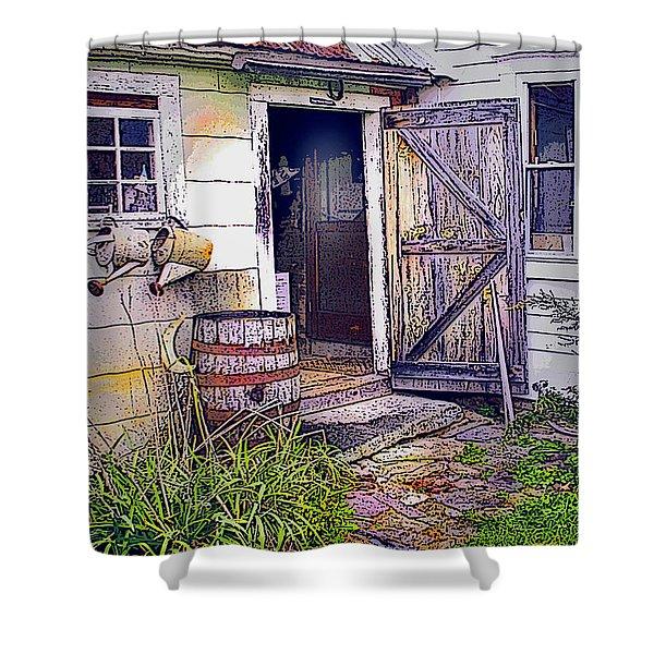 The Door Is Always Open Shower Curtain by Nancy Griswold