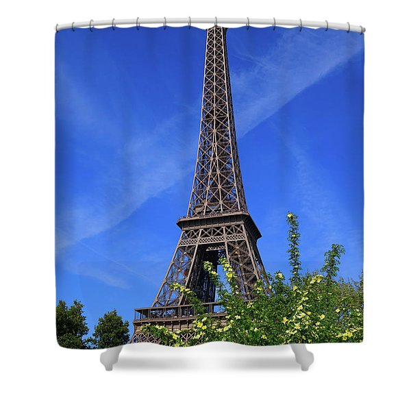 The Eiffel Tower in Spring Shower Curtain by Louise Heusinkveld