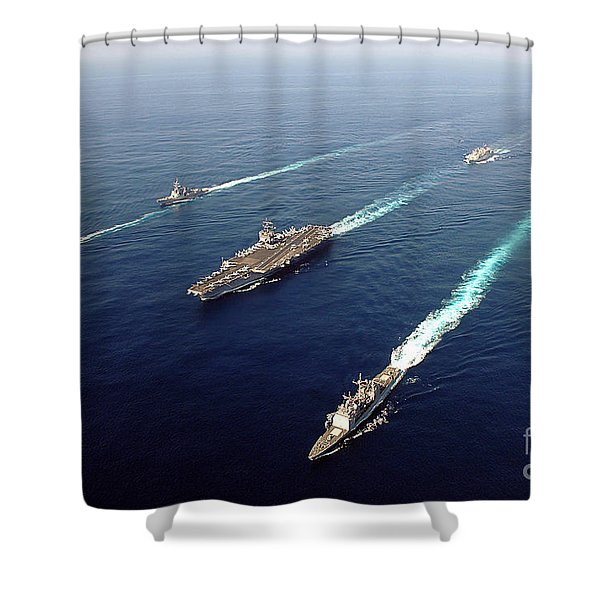 The Enterprise Carrier Strike Group Shower Curtain by Stocktrek Images