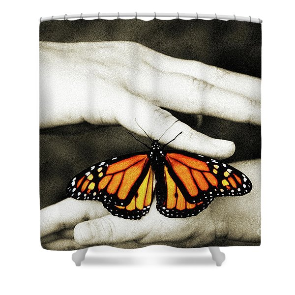 The Hands And The Butterfly Shower Curtain by Andee Design