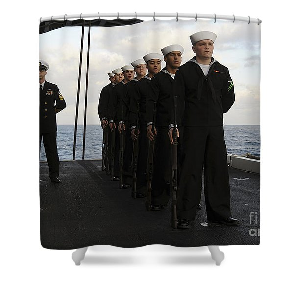 The Honor Guard Stands At Parade Rest Shower Curtain by Stocktrek Images