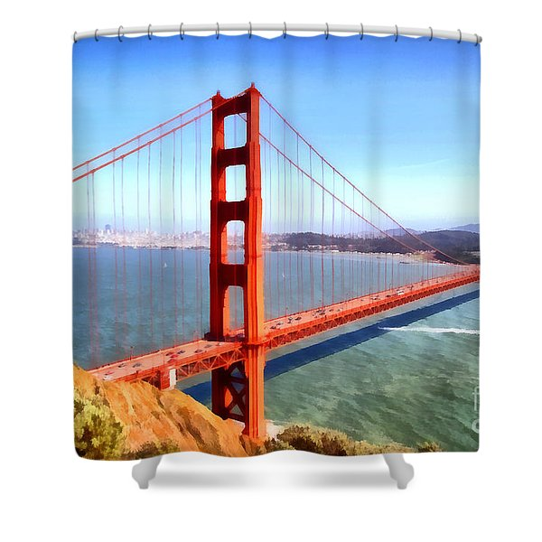 The Iconic San Francisco Golden Gate Bridge . 7d14507 Shower Curtain by Wingsdomain Art and Photography