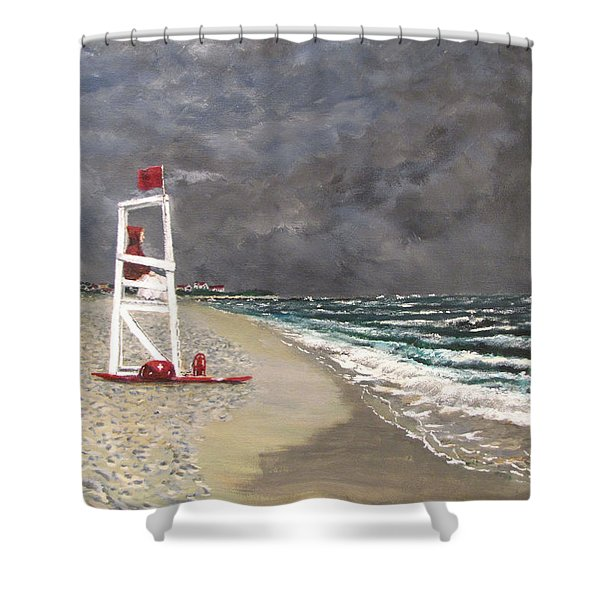 The Last Lifeguard Shower Curtain by Jack Skinner