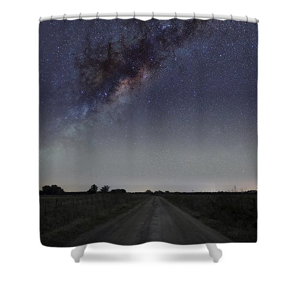 The Milky Way Galaxy Over A Rural Road Shower Curtain by Luis Argerich