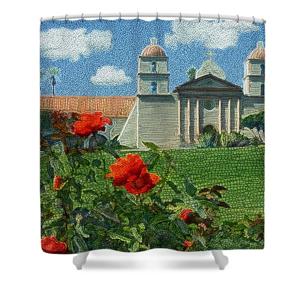 The Mission Santa Barbara Shower Curtain by Kurt Van Wagner