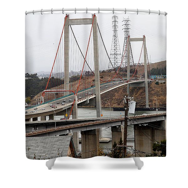 The New Alfred Zampa Memorial Bridge and The Old Carquinez Bridge . 7D8915 Shower Curtain by Wingsdomain Art and Photography