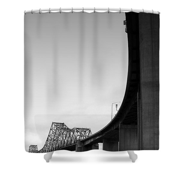 The Old Carquinez Bridge . Black and White . 7D8832 Shower Curtain by Wingsdomain Art and Photography