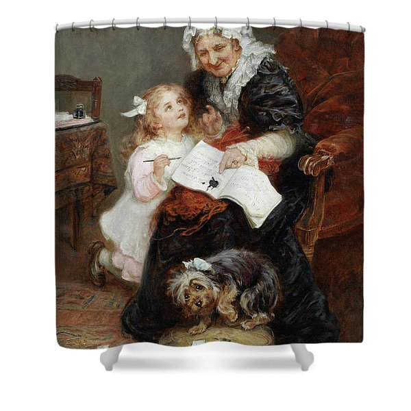 The Penitent Puppy Shower Curtain by Fred Morgan