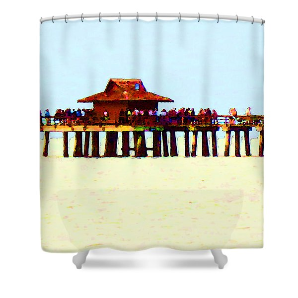 The Pier - Beach Pier Art Shower Curtain by Sharon Cummings