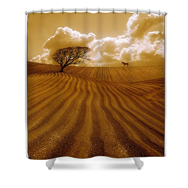 The Ploughed Field Shower Curtain by Mal Bray