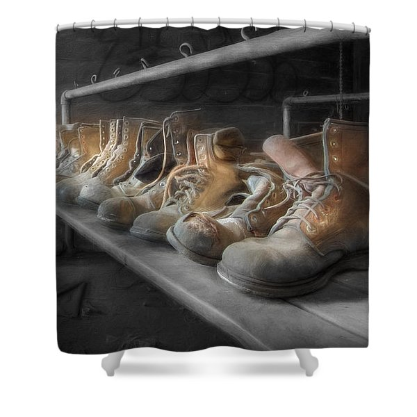 The Room of Lost Soles Shower Curtain by Lori Deiter
