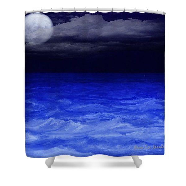 The Sea At Night Shower Curtain by Gina Lee Manley