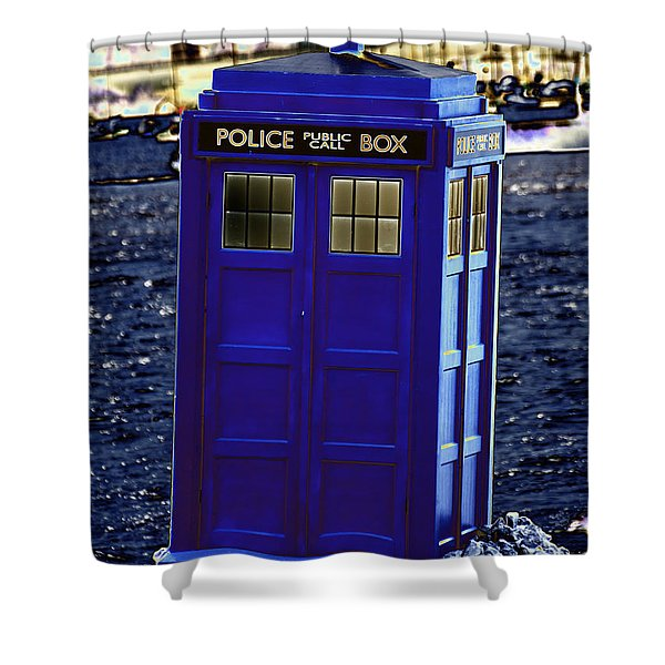 The Tardis Shower Curtain by Steve Purnell