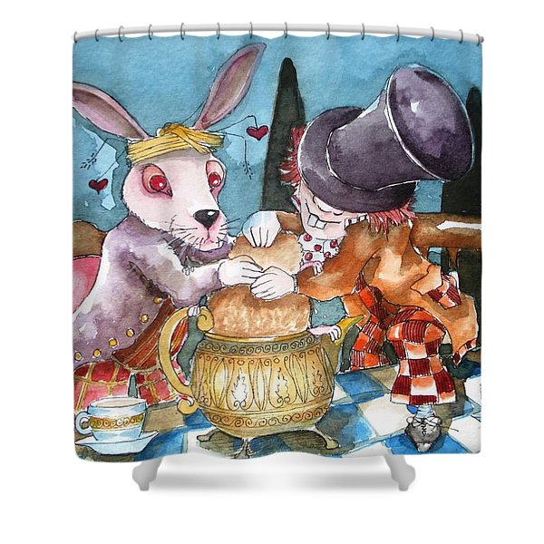 The Tea Party Shower Curtain by Lucia Stewart