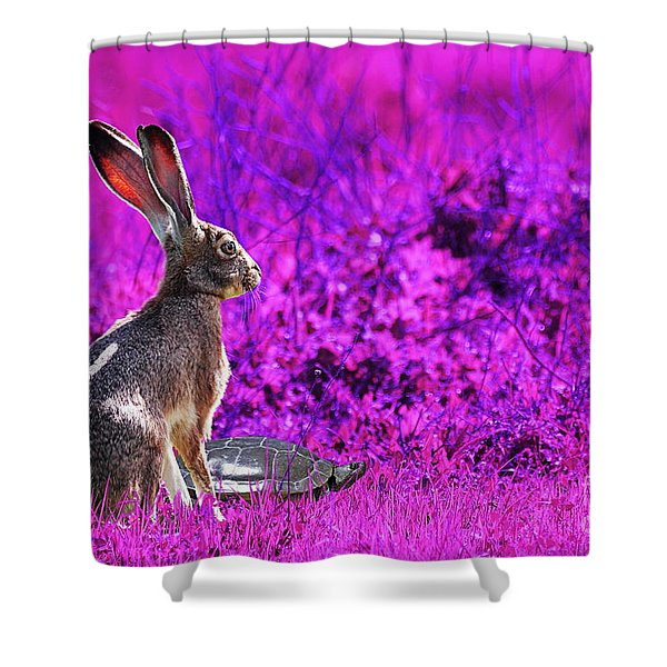 The Tortoise and the Hare . Magenta Shower Curtain by Wingsdomain Art and Photography
